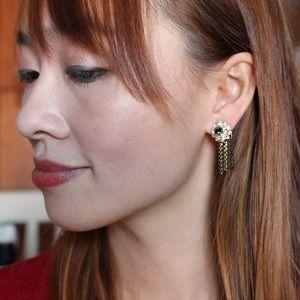 Ocean Fashion Jewelry - Elegant crystal sunflower tassel earrings